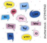 vector message. hi  hey  yes ... | Shutterstock .eps vector #672943960
