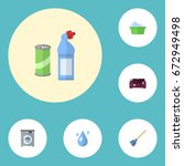 flat icons besom  laundry ... | Shutterstock .eps vector #672949498