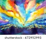 abstract mountain sky... | Shutterstock . vector #672952993