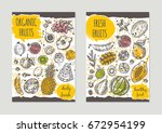 fresh organic fruits brochure... | Shutterstock .eps vector #672954199