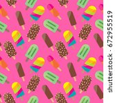 colorful ice cream seamless... | Shutterstock . vector #672955519