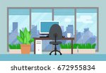 office room interior with green ... | Shutterstock .eps vector #672955834
