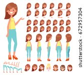 front  side  back view animated ... | Shutterstock .eps vector #672957304