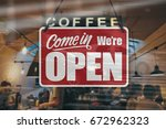 a business sign that says  come ... | Shutterstock . vector #672962323
