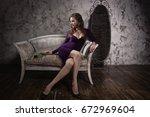 retro styled fashion portrait... | Shutterstock . vector #672969604