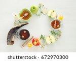 rosh hashanah  jewish new year... | Shutterstock . vector #672970300