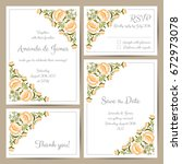 set of wedding cards with hand... | Shutterstock .eps vector #672973078