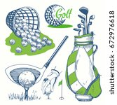 golf set with basket  shoes ... | Shutterstock .eps vector #672976618