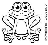 an illustration of a cute frog...   Shutterstock .eps vector #672981070