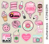 Stock vector set of fashion patches cute pink badges fun cartoon icons vector in pink motivation concept 672981094