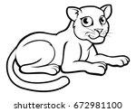 a leopard  jaguar or panther... | Shutterstock .eps vector #672981100