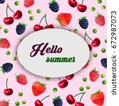 hello summer.watercolor pattern ... | Shutterstock . vector #672987073