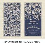 wedding invitation cards ... | Shutterstock .eps vector #672987898