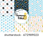 summer funky seamless patterns. ... | Shutterstock .eps vector #672989023