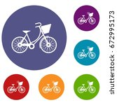 bike with luggage icons set in...   Shutterstock .eps vector #672995173