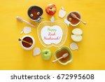 rosh hashanah  jewish new year... | Shutterstock . vector #672995608