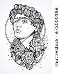 hand drawn beautiful portrait...   Shutterstock .eps vector #673000186