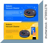 robotic vacuum cleaner promo...   Shutterstock .eps vector #673001278