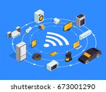 internet of things layout. iot... | Shutterstock .eps vector #673001290