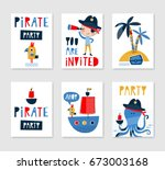 set of cute creative card... | Shutterstock .eps vector #673003168