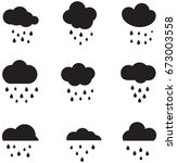 rainy clouds icons | Shutterstock .eps vector #673003558