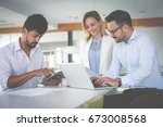 business people using... | Shutterstock . vector #673008568