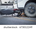motorcycle and truck head on... | Shutterstock . vector #673012249