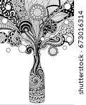 zendoodle design of beer bottle ... | Shutterstock .eps vector #673016314