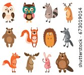 cute forest animals. vector... | Shutterstock .eps vector #673019014
