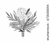 hand drawn bridal bouquet....   Shutterstock .eps vector #673030054