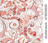 tracery seamless pattern.... | Shutterstock .eps vector #673033033