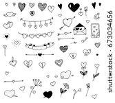 set of doodle hearts  vector | Shutterstock .eps vector #673034656