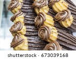 delicious chocolate filled... | Shutterstock . vector #673039168