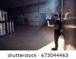 horizontal shot of young man... | Shutterstock . vector #673044463