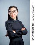 chinese business girl    Shutterstock . vector #673046104