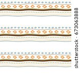 seamless pattern retro with... | Shutterstock .eps vector #673063888