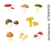 set of eight mushrooms