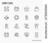 charity and donation thin line... | Shutterstock .eps vector #673065064