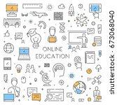 vector line banner for online... | Shutterstock .eps vector #673068040