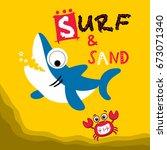 Stock vector surf and sand cute shark vector cartoon 673071340