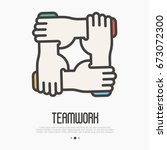 four hands hold together for... | Shutterstock .eps vector #673072300