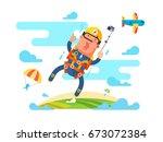 skydiving sport flat | Shutterstock .eps vector #673072384