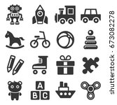 toys icons set on white...