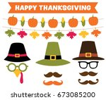 thanksgiving party banners and... | Shutterstock .eps vector #673085200