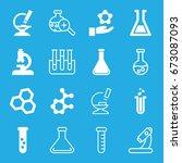 scientific icons set. set of 16 ... | Shutterstock .eps vector #673087093