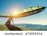 Hang Glider Starting To Fly
