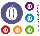 durian icons set in flat circle ... | Shutterstock .eps vector #673093966