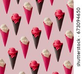 colorful ice cream pattern on... | Shutterstock . vector #673094650