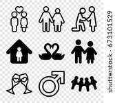 couple icons set. set of 9... | Shutterstock .eps vector #673101529