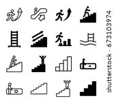 staircase icons set. set of 16...   Shutterstock .eps vector #673103974